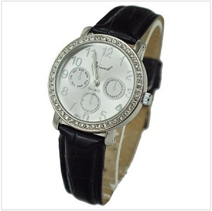 Double Stone with Leather Band Watch