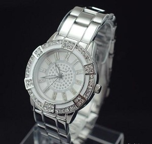 Trendy Large Face Crystal Watch